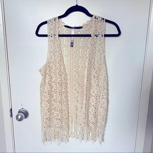 Kenzie boho crochet vest with fringe in cream